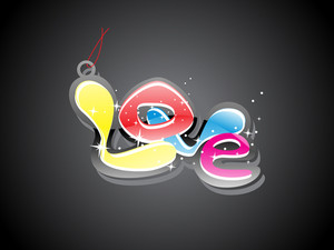 Background With Colorful Love Tag