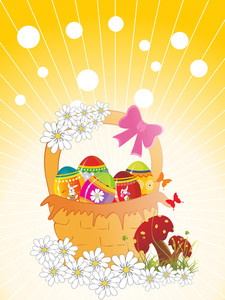 Background With Decorated Egg Basket