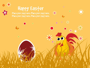 Background With Decorated Egg Cock