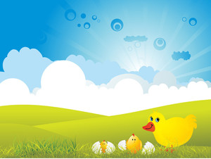 Background With Duckling