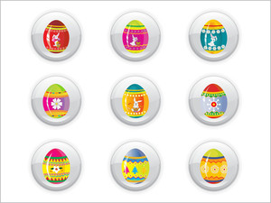 Background With Easter Day Buttons