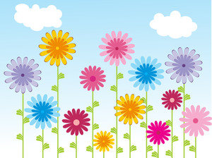 Background With Floral And Sky