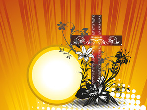 Background With Floral Decorated Cross