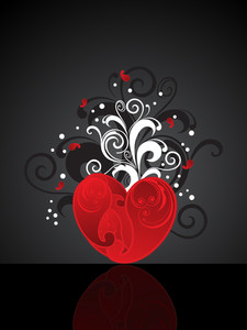 Background With Floral Decorated Red Heart