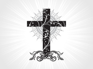 Background With Floral Pattern Cross
