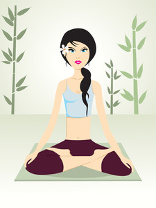 Background With Girl Doing Yoga