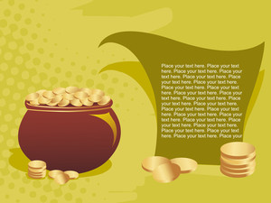Background With Gold Coins Earthenware