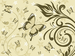 Background With Green Floral And Butterfly