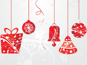 Background With Hanging Christmas Icons