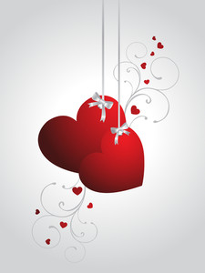 Background With Hanging Decorated Hearts