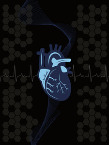 Background With Heartbeat And Human Heart