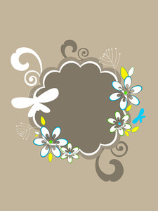 Background With Isolated Bloom Decorated Frame