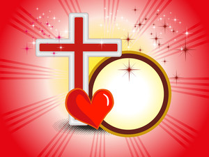 Background With Isolated Cross And Red Heart