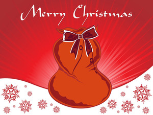 Background With Isolated Santa Claus Gift Bag