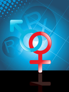 Background With Male And Female Symbol