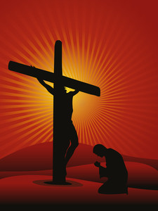Background With Man Praying To Jesus