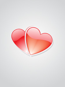 Background With Pair Of Glossy Heart