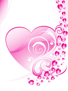 Background With Pink Floral Pattern Heart