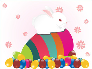 Background With Rabbit Sit On Egg