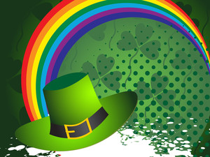 Background With Rainbow And Leprechaun Hat