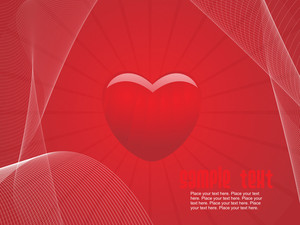 Background With Red Heart And Wave Illustration