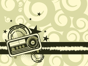 Background With Retro Audio Tape Recorder