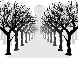 Background With Retro Tree Illustration