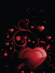 Background With Romantic Floral Design Heart