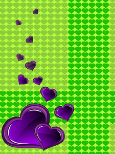 Background With Romantic Purple Hearts