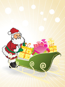 Background With Santa Claus And Many Gifts