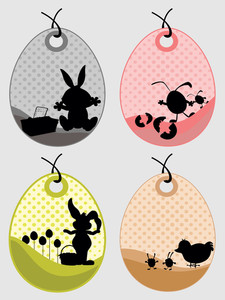 Background With Set Of Four Easter Tag