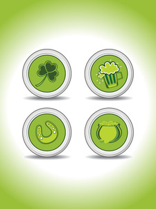 Background With Set Of Four Patrick Day Icons