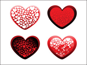 Background With Set Of Four Romantic Heart