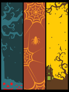 Background With Set Of Halloween Banner