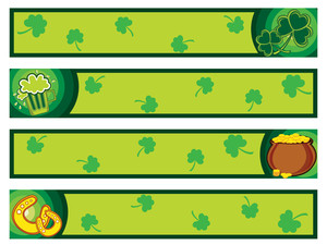 Background With Set Of Patrick Day Banner