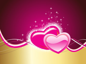 Background With Set Of Romantic Hearts