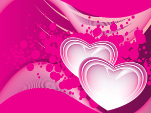 Background With Set Of Romantic Pink Heart