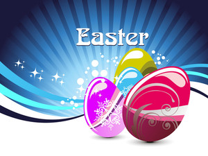 Background With Set Of Three Colorful Decorated Egg