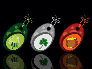 Background With Set Of Three Patrick Day Tags