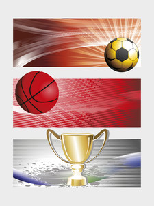 Background With Set Of Three Sports Banner