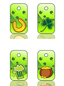 Background With Set Of Three St. Patrick's Day Tag