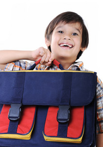 Backpack for school, in hands of kid