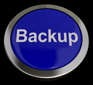 Backup Button In Blue For Archiving And Storage