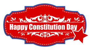 Badge Sticker For Constitution Day Vector Illustration