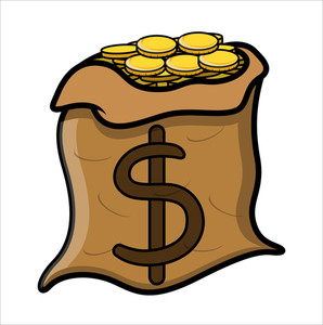 Bag Full Of Gold Coins - Vector Illustration