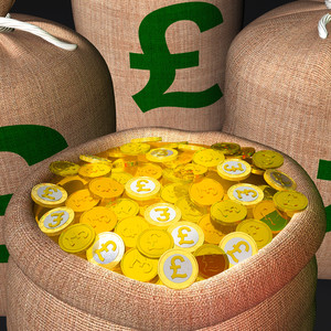 Bag Of Coins Showing British Prosperity