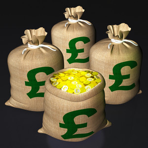 Bag Of Coins Shows British Savings