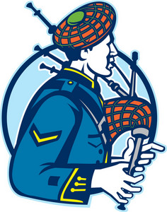 Bagpiper Bagpipes Scotsman Retro