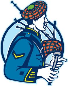 Bagpiper Bagpipes Scotsman Retro
