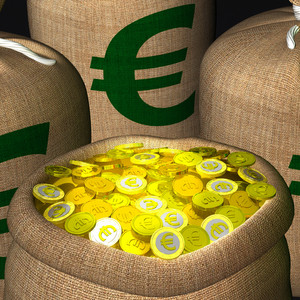 Bags Of Coins Showing European Earnings